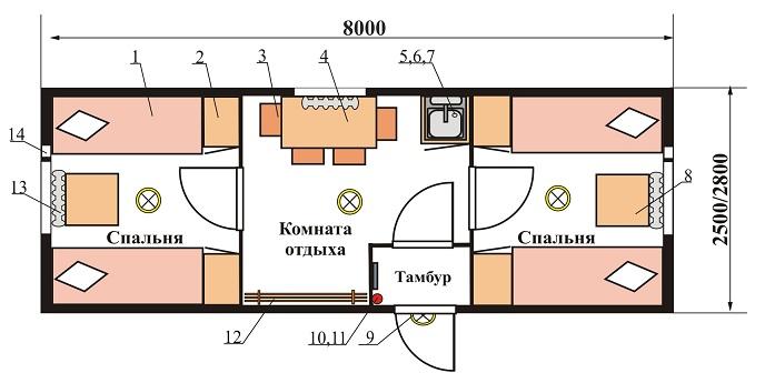 План-схема.  Жилой вагон-дом на 8 человек (8 м) .